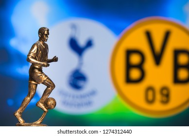 MADRID, SPAIN, JANUARY. 3. 2019: Champions League Round of 16 Match, Silhouette of football player statuette, UCL 2019, Tottenham Hotspur (ENG) v Borussia Dortmund (GER)