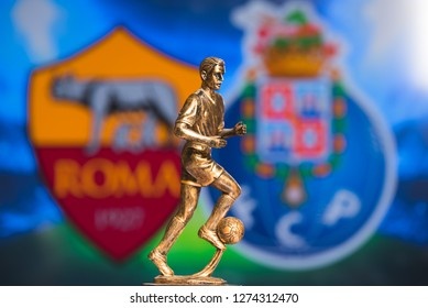 MADRID, SPAIN, JANUARY. 3. 2019: Champions League Round of 16 Match, Silhouette of football player statuette, UCL 2019, Roma (ITA) v Porto (POR)