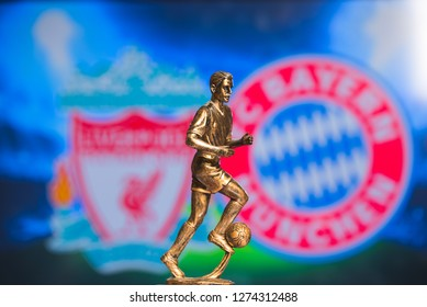 MADRID, SPAIN, JANUARY. 3. 2019: Champions League Round of 16 Match, Silhouette of football player statuette, UCL 2019, Liverpool (ENG) v Bayern München (GER)