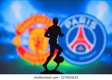 MADRID, SPAIN, JANUARY. 3. 2019: Champions League Round of 16 Match, Silhouette of football player statuette, UCL 2019, Manchester United (ENG) vs Paris Saint-Germain (FRA),