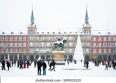 "Madrid, Spain; January 8 2021: ""Plaza Mayor"" during the snowfall in Madrid"