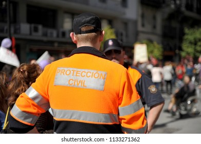 Madrid, Spain - Jul 20, 2015: A vigilant of Civil Protection (Protección Civil) during a popular demonstration, Spain