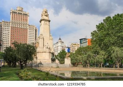 MADRID, SPAIN - JULY 06 2016: Spain Square (Plaza de Espana) with the  monument to Miguel de Cervantes and Spain Building  (Edificio Espana). View 3