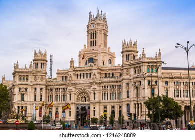 MADRID, SPAIN - JULY 11, 2014: Cibeles Palace in Madrid in a beautiful summer day, Spain on July 11, 2014 in Madrid, Spain
