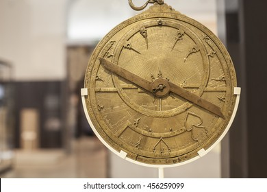 Madrid, Spain - July 11, 2016: Antique brass astrolabe made during Arabic Middle Age rule in Spain at National Archeological  Museum of Madrid