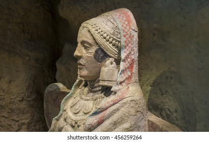 Madrid, Spain - July 11, 2016: Lady of Baza, one of the most important piece of Iberian art at National Archeological  Museum of Madrid