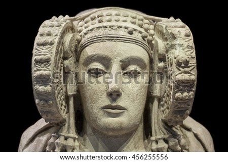 Madrid, Spain - July 11, 2016: Lady of Elche, most important piece of Iberian art at National Archaeological  Museum of Madrid