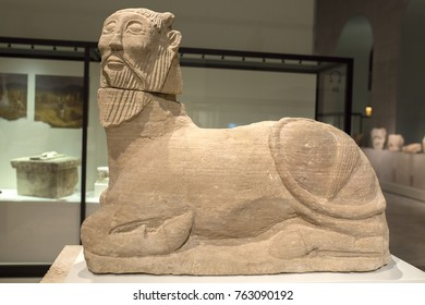Madrid, Spain - July 11, 2016_Biche of Bazalote. Sculpture made of limestone belong to Iberian Culture. National Archeological Museum of Madrid