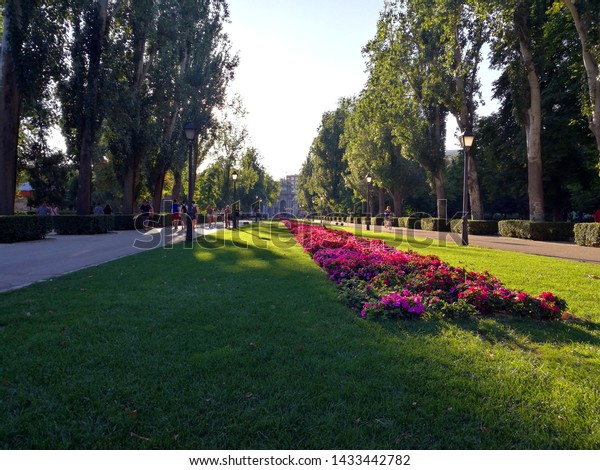 Madrid, Spain - July 11, 2017: El Retiro Park (Parque de El Retiro) is one of the largest parks of the city, it belonged to the Spanish Monarchy until the late 19th century, when it became a public pa