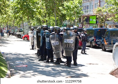 MADRID, SPAIN - JULY 11: Riot police ready for action during the miners' strike held in the streets of Madrid on July 11, 2012