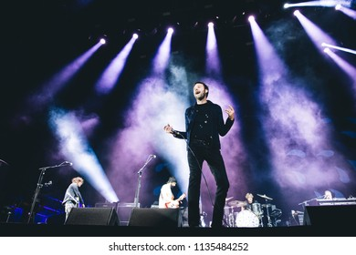 MADRID, SPAIN - JULY 12: Brit Awards winners Kasabian, performing on Madrid on July 12, 2018 at Madcool Festival