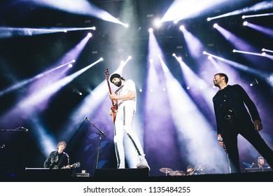 MADRID, SPAIN - JULY 12: Brit Awards winners Kasabian, performing on Madrid on July 12, 2018 at Madcool Festival