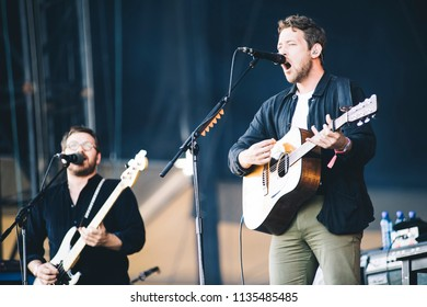 MADRID, SPAIN - JULY 12: Indie folk band Fleet Foxes, performing on Madrid on July 12, 2018 at Madcool Festival