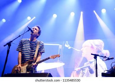 MADRID, SPAIN - JULY 12: Indie rock band Yo La Tengo, performing on Madrid on July 12, 2018 at Madcool Festival