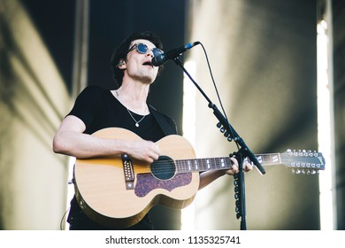 MADRID, SPAIN - JULY 13: Brit Awards winner songwriter James Bay, performing on Madrid on July 13, 2018 at Madcool Festival