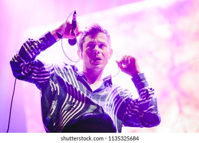 MADRID, SPAIN - JULY 13: Indie pop artist Perfume Genius, performing on Madrid on July 13, 2018 at Madcool Festival