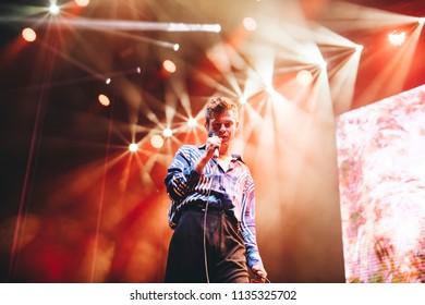 MADRID, SPAIN - JULY 13: Indie pop artist Perfume Genius, performing on Madrid on July 13, 2018 at Madcool Festival