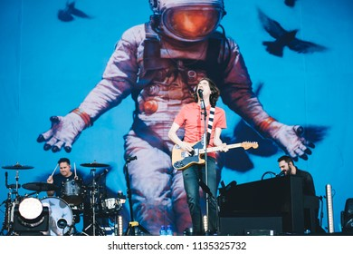 MADRID, SPAIN - JULY 13: Rock band Snow Patrol, performing on Madrid on July 13, 2018 at Madcool Festival