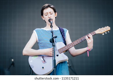 MADRID, SPAIN - JULY 14: Indie band Frankie Cosmos, performing on Madrid on July 14, 2018 at Madcool Festival