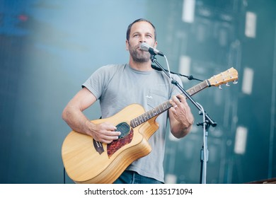 MADRID, SPAIN - JULY 14: Professional surfer and rocker Jack Johnson, performing on Madrid on July 14, 2018 at Madcool Festival
