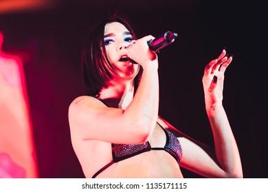 MADRID, SPAIN - JULY 14: Singer Dua Lipa, performing on Madrid on July 14, 2018 at Madcool Festival