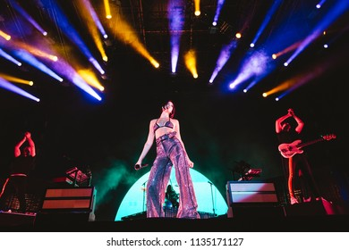 MADRID, SPAIN - JULY 14: Singer Dua Lipa, performing on Madrid on July 14, 2018 at Madcool Festival