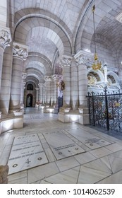 Madrid, Spain, July, 15, 2017 - View of hallway in crypt under the Almudena Cathedral in Madrid, Spain