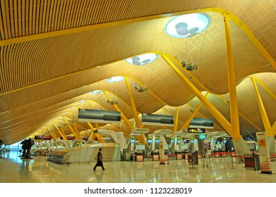 MADRID, SPAIN - JULY 17, 2013: Interior of newest (T4) terminal of Madrid Barajas airport