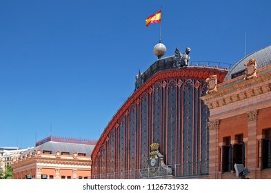 MADRID, SPAIN - JULY 17, 2013:  Atocha railway station in eastern part of city centre