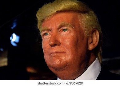MADRID, SPAIN - JULY 17, 2017: Figure of Donald Trump who is a politician, entrepreneur and television character who is currently the president of the United States on stage