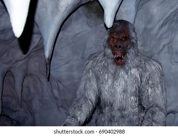 MADRID, SPAIN - JULY 17, 2017: Figure of the snowman also called Yeti in an ice cave of the wax museum