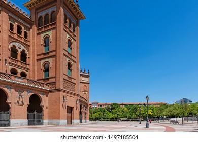 MADRID, SPAIN - July 19, 2018: Plaza de Toros de Las Ventas. Bullding in Madrid, Las Ventas, situated at Plaza de torros. It is the bigest bullring in Spain.