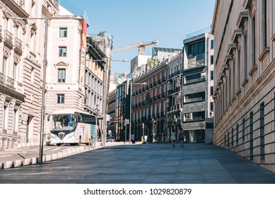 Madrid, Spain - July 2, 2017: View of Spanish Parliament in the street of San Jeronimo in Madrid.