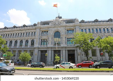 MADRID, SPAIN - JULY 2, 2019: Historical building of Banco de Espana (Bank of Spain) the central bank of Spain