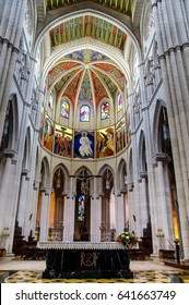 MADRID, SPAIN - JULY 22, 2016: Main Altar in Almudena Cathedral, Madrid, Spain
