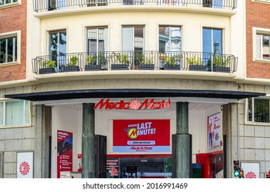 MADRID, SPAIN - JULY 23, 2021: Facade of a Media Markt store in Madrid, Spain. Media Markt is a chain of stores selling consumer electronics