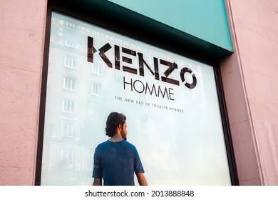 MADRID, SPAIN - JULY 23, 2021.logo of Kenzo's shop for Kenzo Homme eau de toilette. Kenzo is a french luxury fashion company