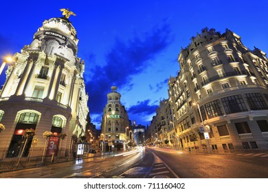 MADRID, SPAIN - JULY 25, 2017: Gran Vía is an upscale shopping street located in central Madrid. Is known as the Spanish Broadway, and it is one of the streets with the most nightlife in Europe.