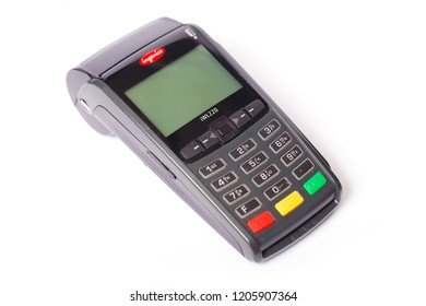 Madrid, Spain - July 27, 2018: Payment terminal company Ingenico iWL220 on a white background
