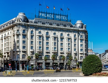 MADRID, SPAIN – JULY 29, 2018: The Westin Palace Madrid, a luxury hotel designed by the Monnoyer Studio and architect Leon Eduard Ferres in 1912 in the Belle Epoque style.