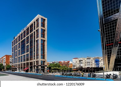 MADRID, SPAIN – JULY 30,  2018: Hotel Via Castellana, modern property of remarkable design, with the capacity of 228 comfortable rooms of five different types.