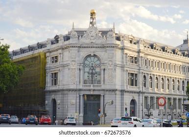 MADRID, SPAIN - JULY 5: Facade of the Bank of Spain on July 5, 2017 in Madrid, Spain.