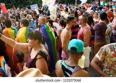 MADRID, SPAIN - JULY 7, 2018: Pride parade. People attending the gay pride party