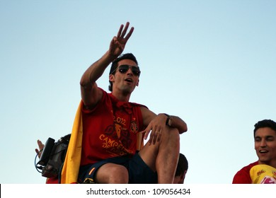 MADRID, SPAIN  - JULY 7: Alvaro Arbeloa celebrates the Spanish national team winning the 2012 Eurocup. On July 7, 2012 at the Cibeles.