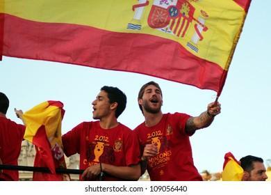 MADRID, SPAIN  JULY 7: Sergio Ramos and Jesus Navas celebrate the Spanish national team winning the 2012 Eurocup. On July 7, 2012 at the Cibeles.
