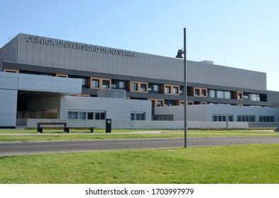 Madrid, Spain - July 9, 2019: Exterior facade of Hospital University of Navarra in Madrid, the capital of Spain.