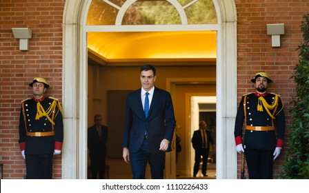 MADRID, SPAIN - Jun 04, 2018: Prime Minister of Spain Pedro Sanchez during a meeting with the President of Ukraine Petr Poroshenko
