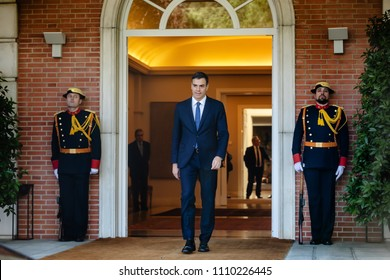 MADRID, SPAIN - Jun 04, 2018: Prime Minister of Spain Pedro Sanchez during a meeting with the President of Ukraine Petr Poroshenko