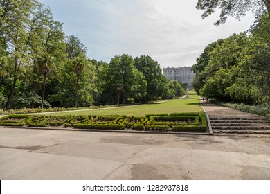 MADRID, SPAIN - JUN 7, 2017: Central Alley of Campo del Moro Royal Park (Field of Moors)
