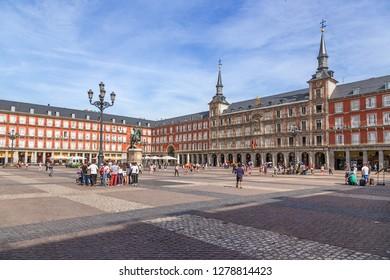 MADRID, SPAIN - JUN 9, 2017: Scenic view of Plaza Mayor